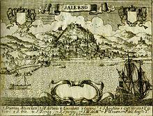 Salerno nella veduta Pacichelli di inizio '700. Da Wikipedia