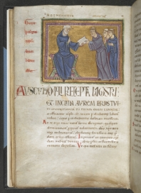 The opening folio of the Rule of St Benedict, Add MS 16979, f. 21v