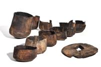 Parma, Cassa di Risparmio, piazza Garibaldi, bicchieri in legno (X-XI), recuperati in buche utilizzate per lo smaltimento dei rifiuti. Deposito Complesso Monumentale della Pilotta, Parma