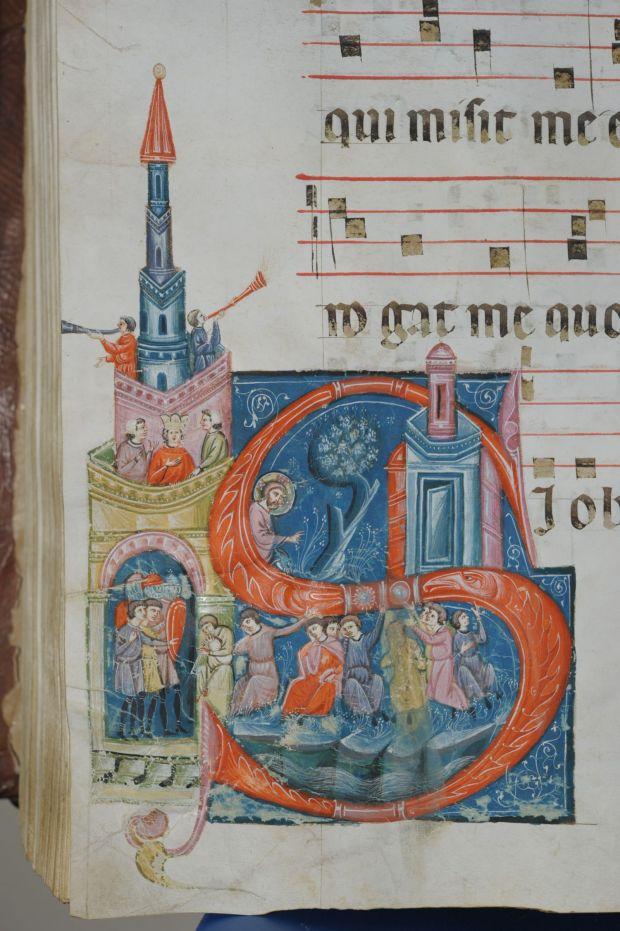 4. Maestro dei Corali di San Pietro, Gli ebrei piangono lungo i fiumi di Babilonia, Gubbio, Archivio di Stato