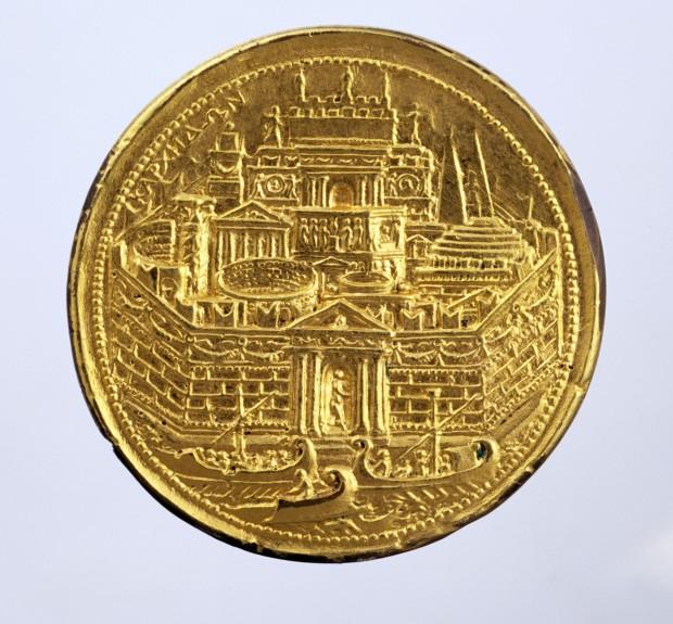 Medaglia in oro con veduta fantastica di Cartagine,, da Karlsruhe_2